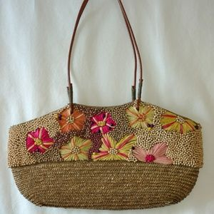 VTG Boho Straw Flowers & Wood Beads Shoulder Bag